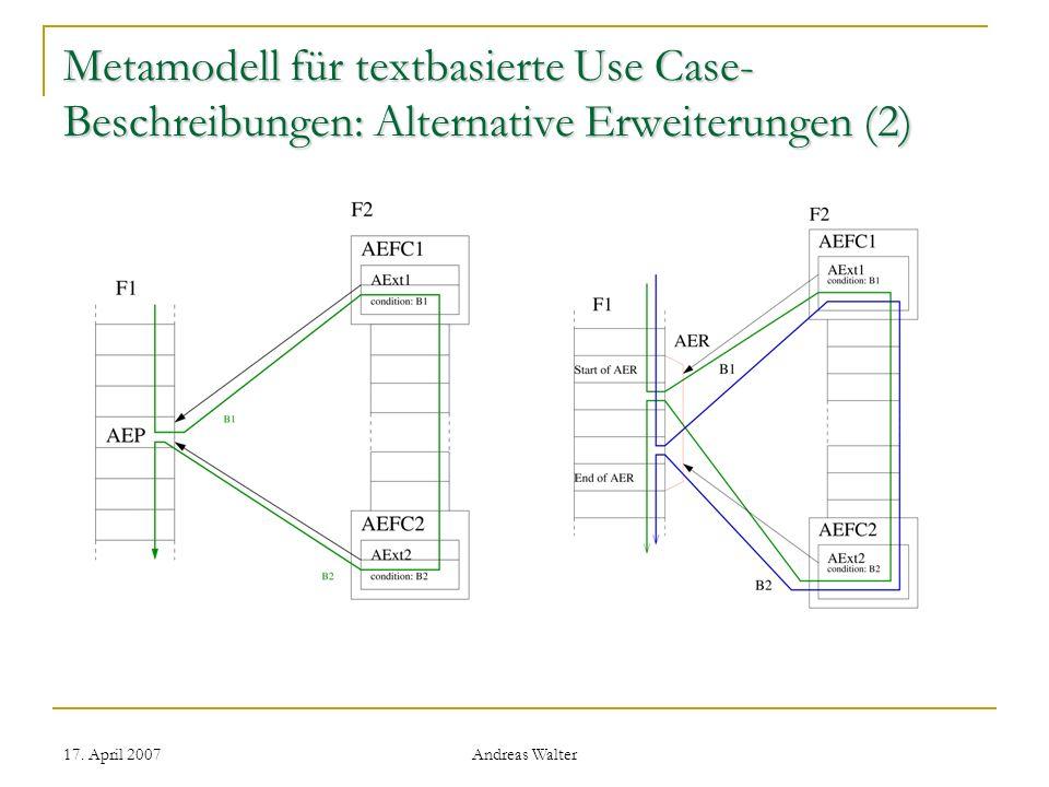 Metamodell für textbasierte Use Case-Beschreibungen: Alternative Erweiterungen (2)