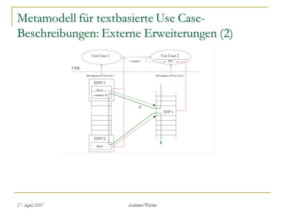 Metamodell für textbasierte Use Case-Beschreibungen: Externe Erweiterungen (2)