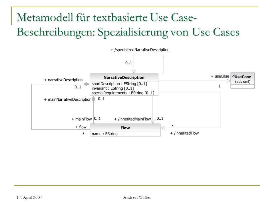Metamodell für textbasierte Use Case-Beschreibungen: Spezialisierung von Use Cases