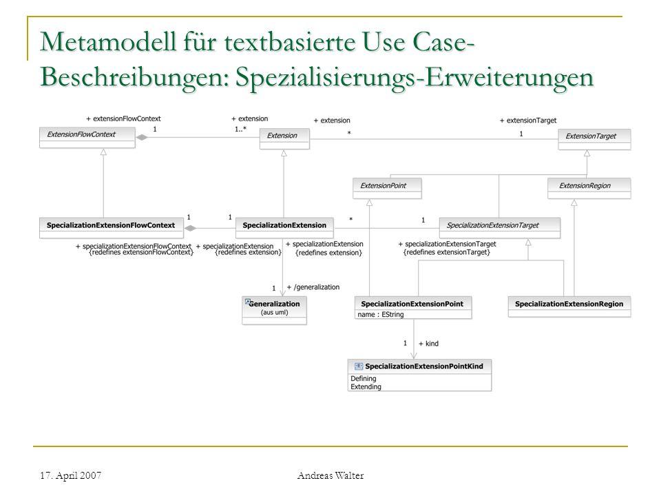 Metamodell für textbasierte Use Case-Beschreibungen: Spezialisierungs-Erweiterungen