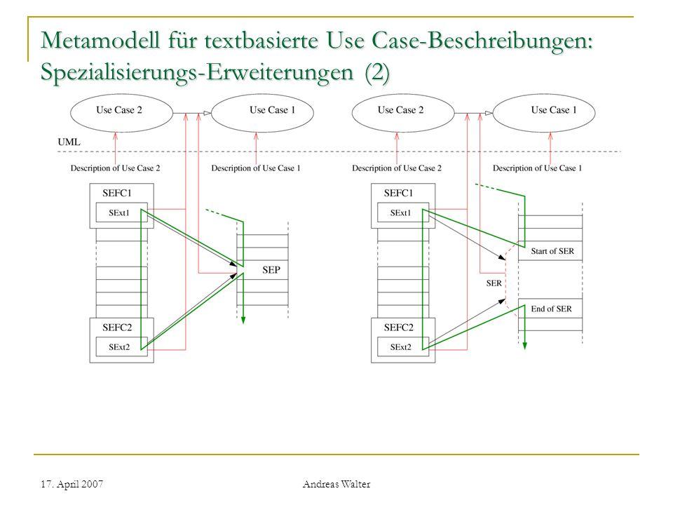 Metamodell für textbasierte Use Case-Beschreibungen: Spezialisierungs-Erweiterungen (2)