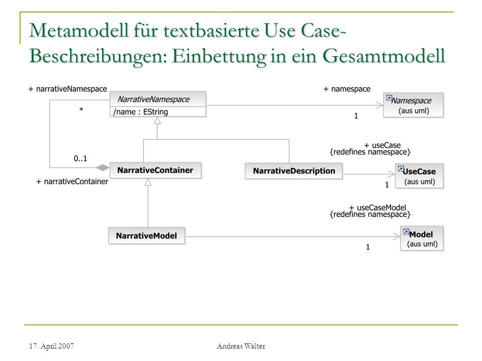 Metamodell für textbasierte Use Case-Beschreibungen: Einbettung in ein Gesamtmodell