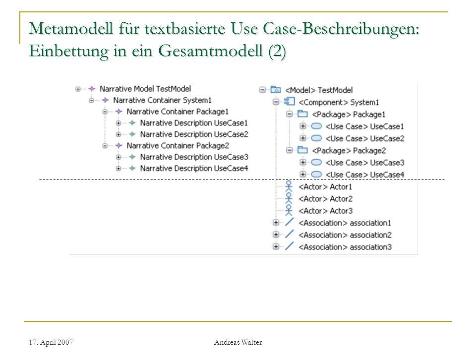 Metamodell für textbasierte Use Case-Beschreibungen: Einbettung in ein Gesamtmodell (2)