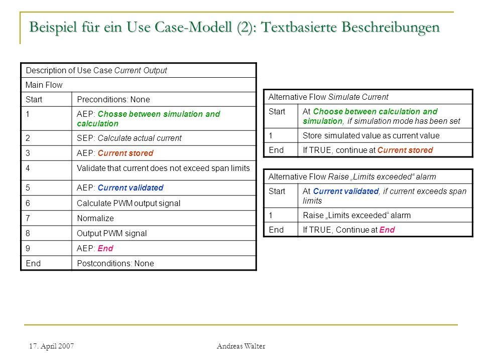 Beispiel für ein Use Case-Modell (2): Textbasierte Beschreibungen