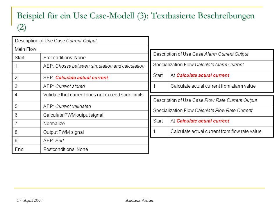 Beispiel für ein Use Case-Modell (3): Textbasierte Beschreibungen (2)