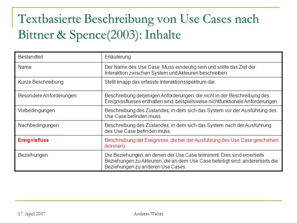 Textbasierte Beschreibung von Use Cases nach Bittner & Spence(2003): Inhalte