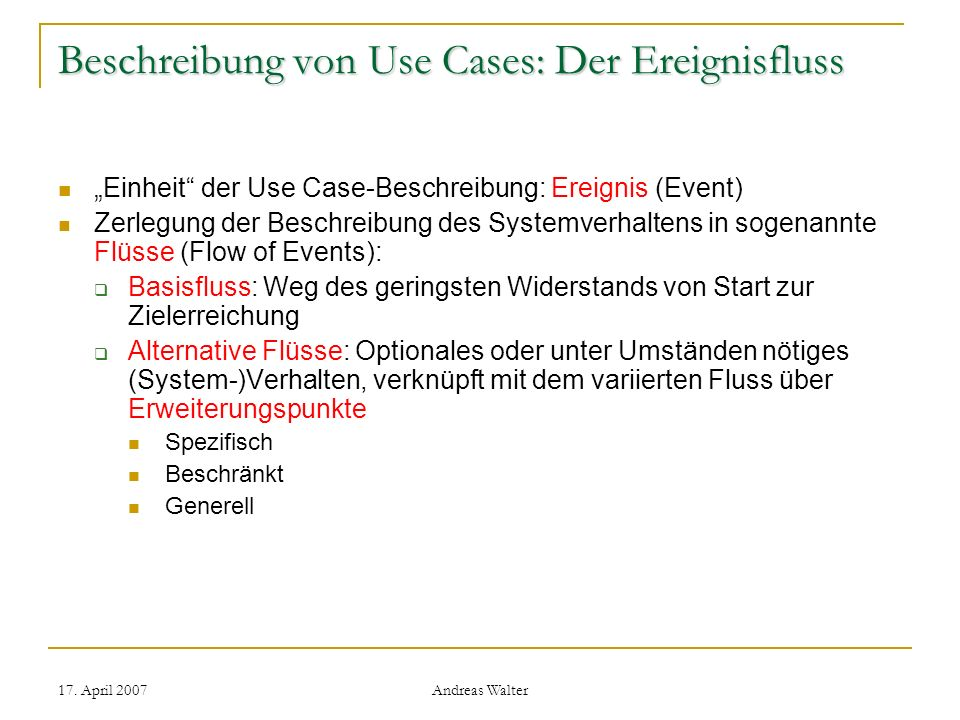 Beschreibung von Use Cases: Der Ereignisfluss