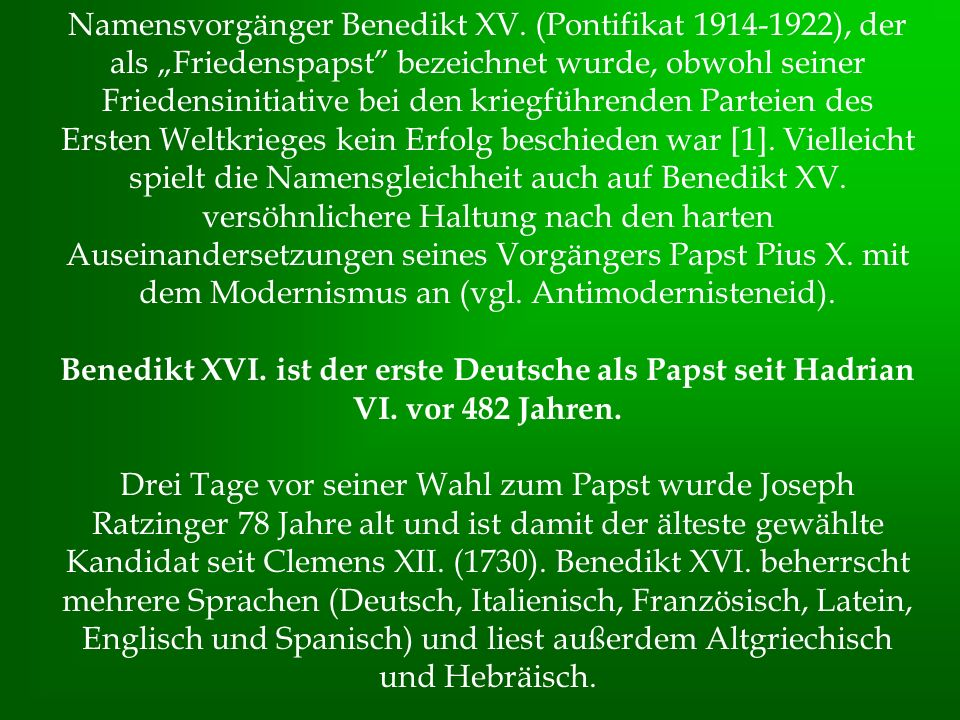 Namensvorgänger Benedikt XV