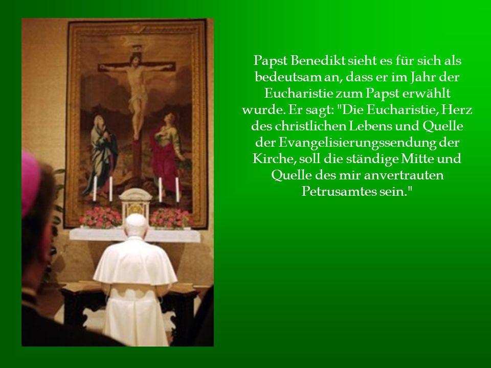 Papst Benedikt sieht es für sich als bedeutsam an, dass er im Jahr der Eucharistie zum Papst erwählt wurde.