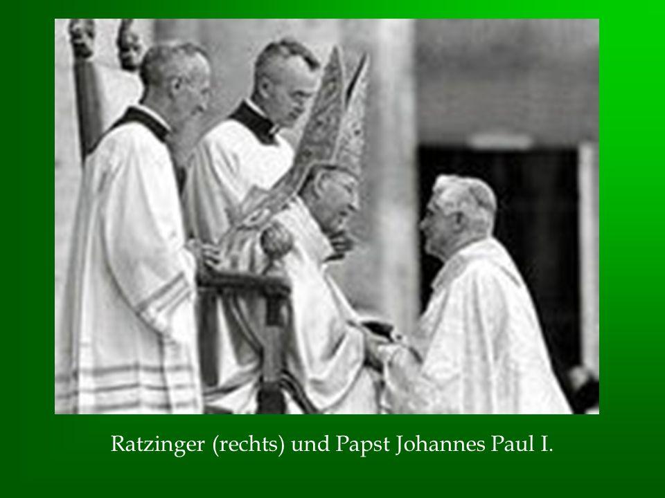 Ratzinger (rechts) und Papst Johannes Paul I.