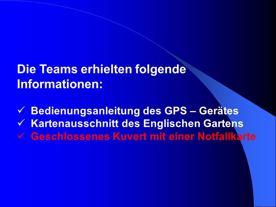 Die Teams erhielten folgende Informationen: