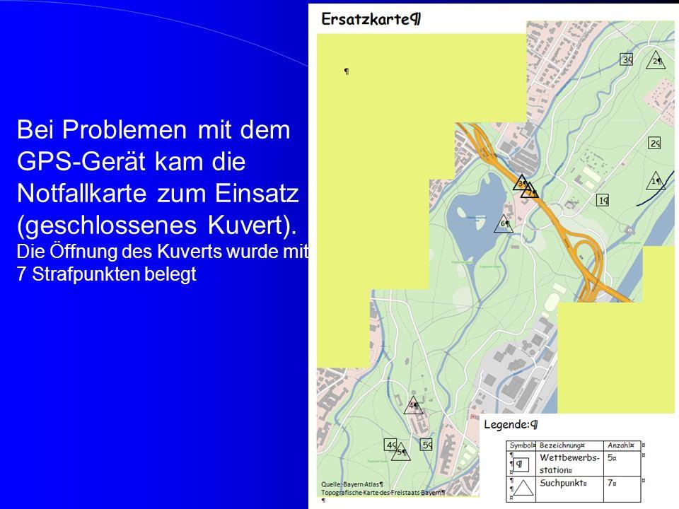 Bei Problemen mit dem GPS-Gerät kam die Notfallkarte zum Einsatz (geschlossenes Kuvert).