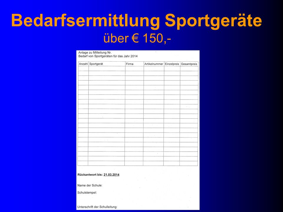 Bedarfsermittlung Sportgeräte