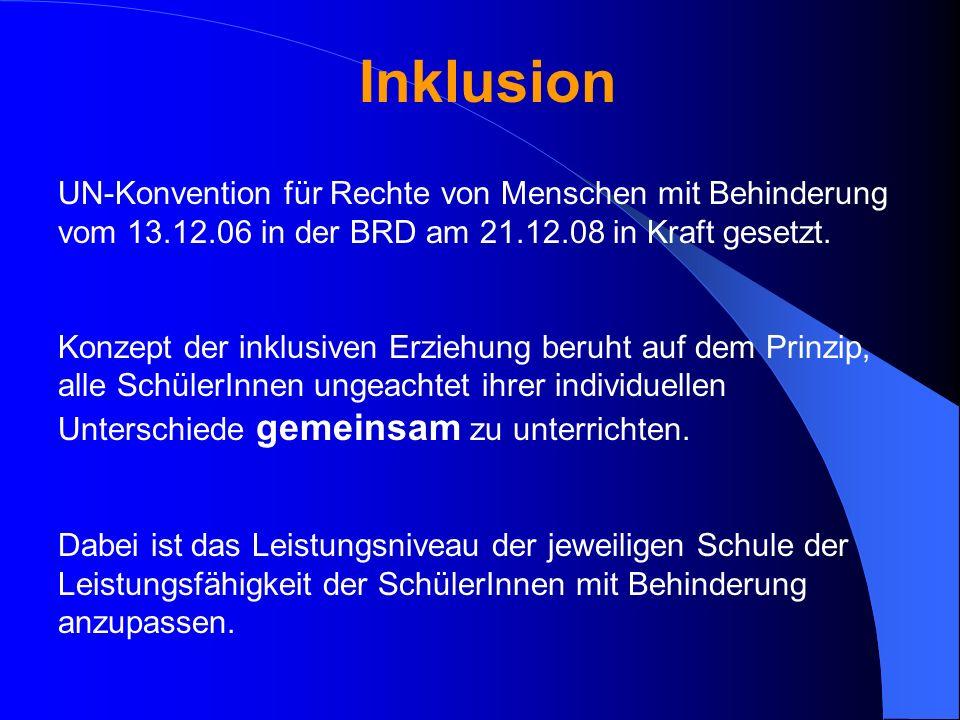 Inklusion UN-Konvention für Rechte von Menschen mit Behinderung vom 13.12.06 in der BRD am 21.12.08 in Kraft gesetzt.