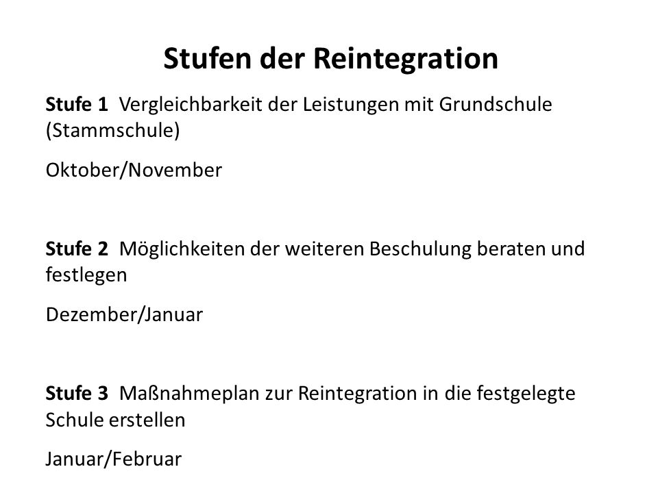 Stufen der Reintegration