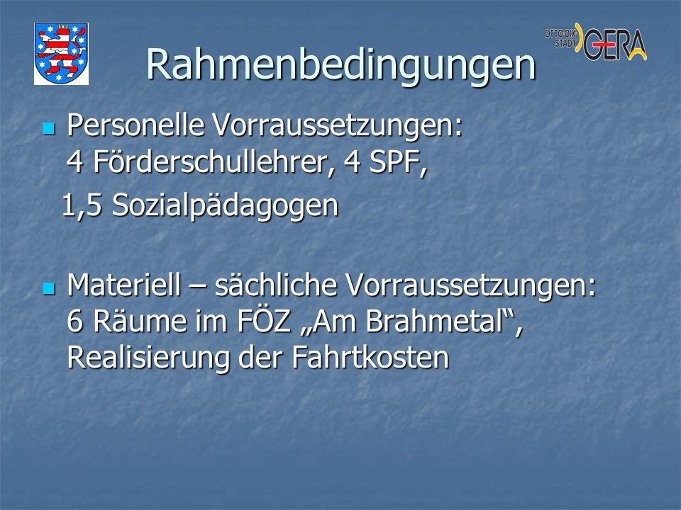 Rahmenbedingungen Personelle Vorraussetzungen: 4 Förderschullehrer, 4 SPF, 1,5 Sozialpädagogen.