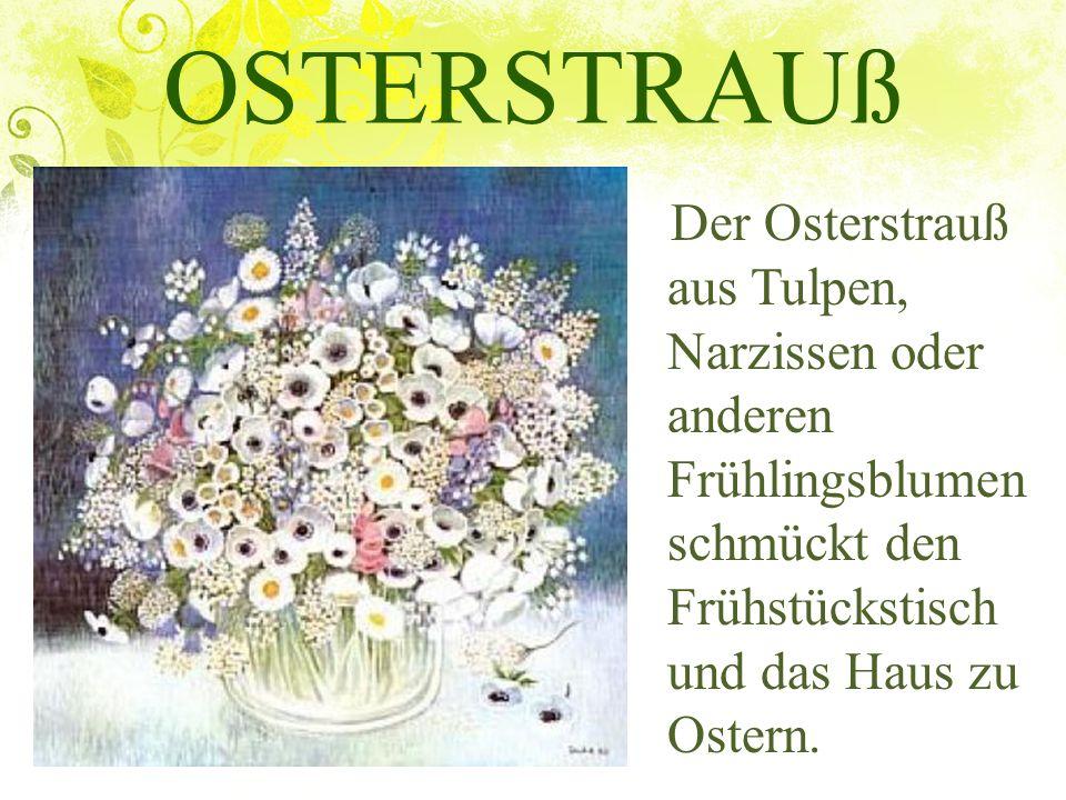 OSTERSTRAUß Der Osterstrauß aus Tulpen, Narzissen oder anderen Frühlingsblumen schmückt den Frühstückstisch und das Haus zu Ostern.