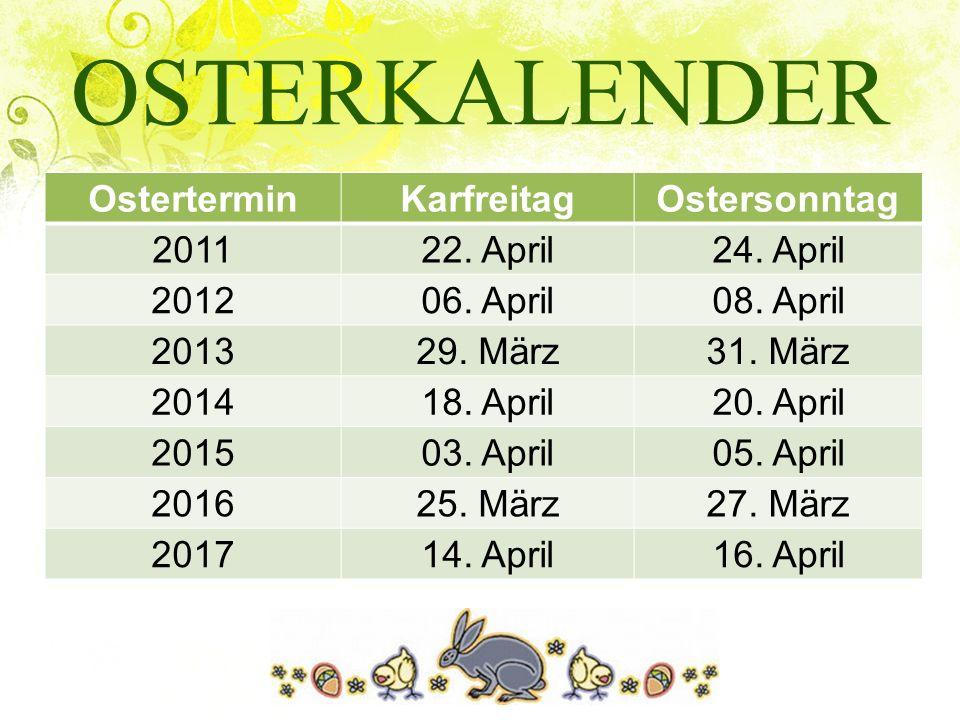 OSTERKALENDER Ostertermin Karfreitag Ostersonntag 2011 22. April