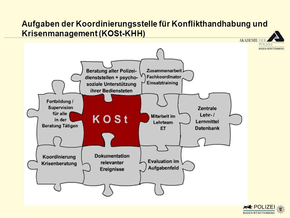 Aufgaben der Koordinierungsstelle für Konflikthandhabung und Krisenmanagement (KOSt-KHH)
