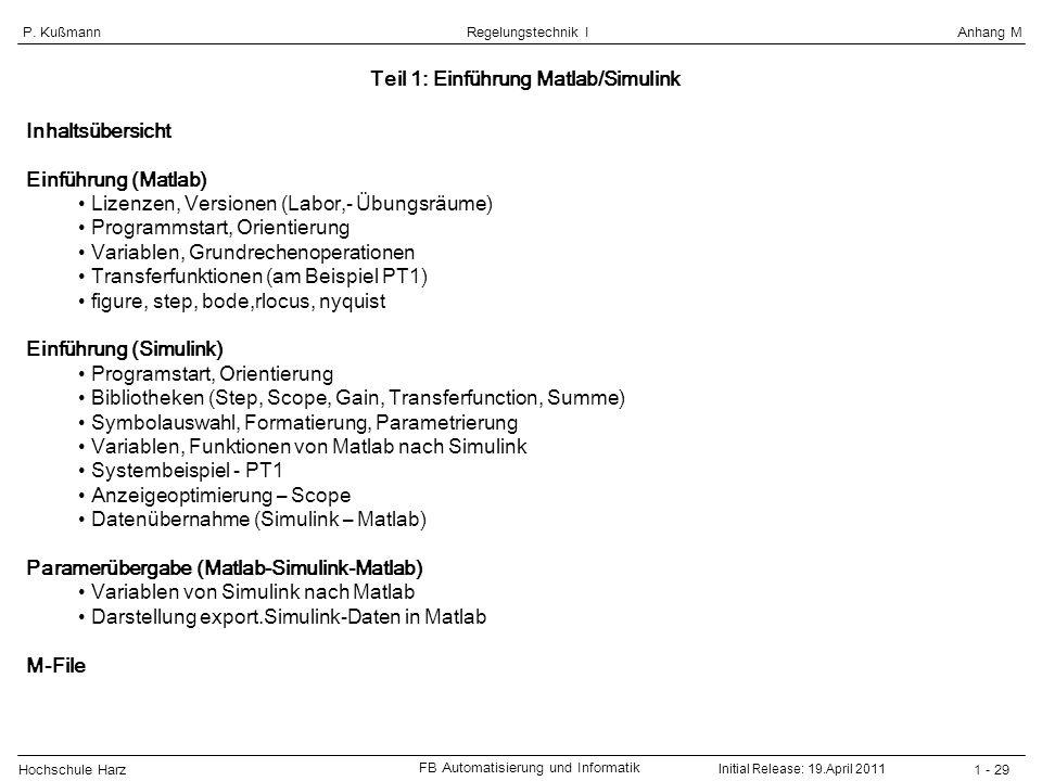 Teil 1: Einführung Matlab/Simulink