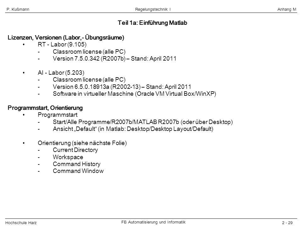 Teil 1a: Einführung Matlab