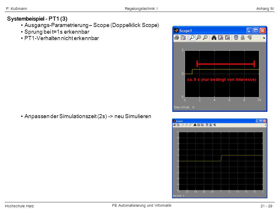 Systembeispiel - PT1 (3) Ausgangs-Parametrierung – Scope (Doppelklick Scope) Sprung bei t=1s erkennbar.