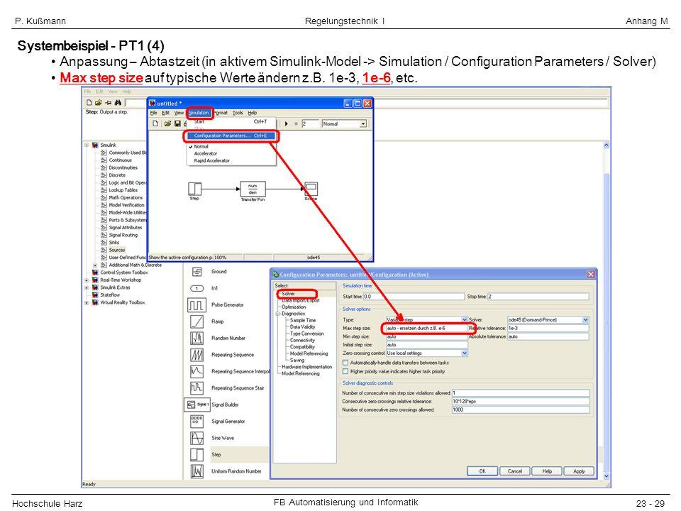 Systembeispiel - PT1 (4) Anpassung – Abtastzeit (in aktivem Simulink-Model -> Simulation / Configuration Parameters / Solver)