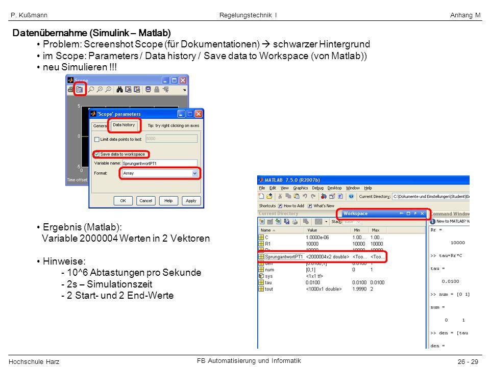 Datenübernahme (Simulink – Matlab)