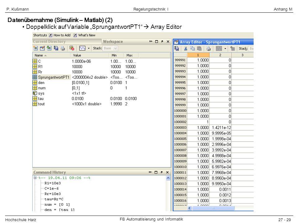 Datenübernahme (Simulink – Matlab) (2)