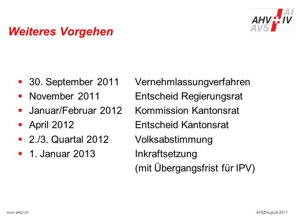 Weiteres Vorgehen 30. September 2011 Vernehmlassungverfahren