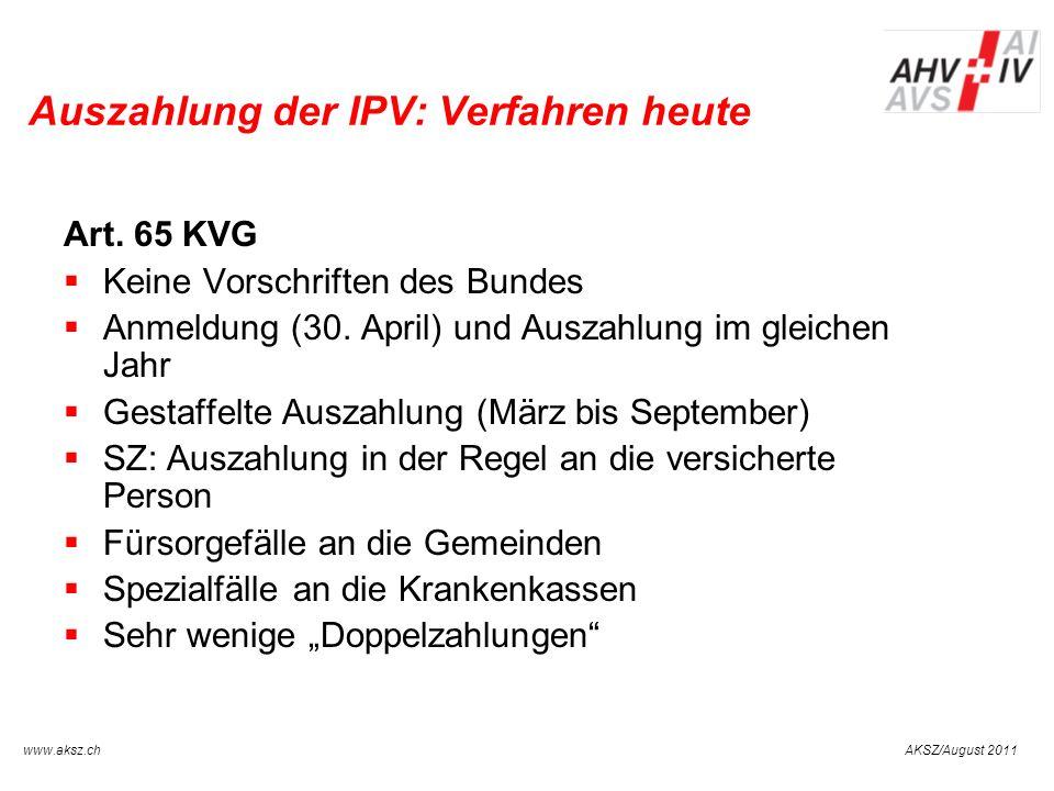 Auszahlung der IPV: Verfahren heute