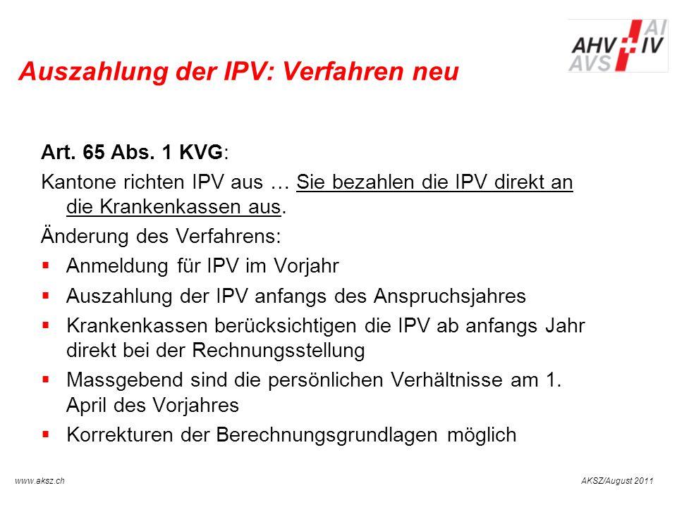Auszahlung der IPV: Verfahren neu