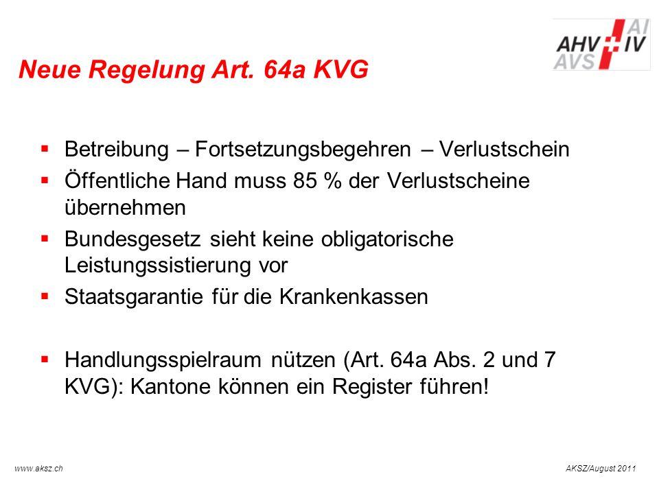 Neue Regelung Art. 64a KVG Betreibung – Fortsetzungsbegehren – Verlustschein. Öffentliche Hand muss 85 % der Verlustscheine übernehmen.