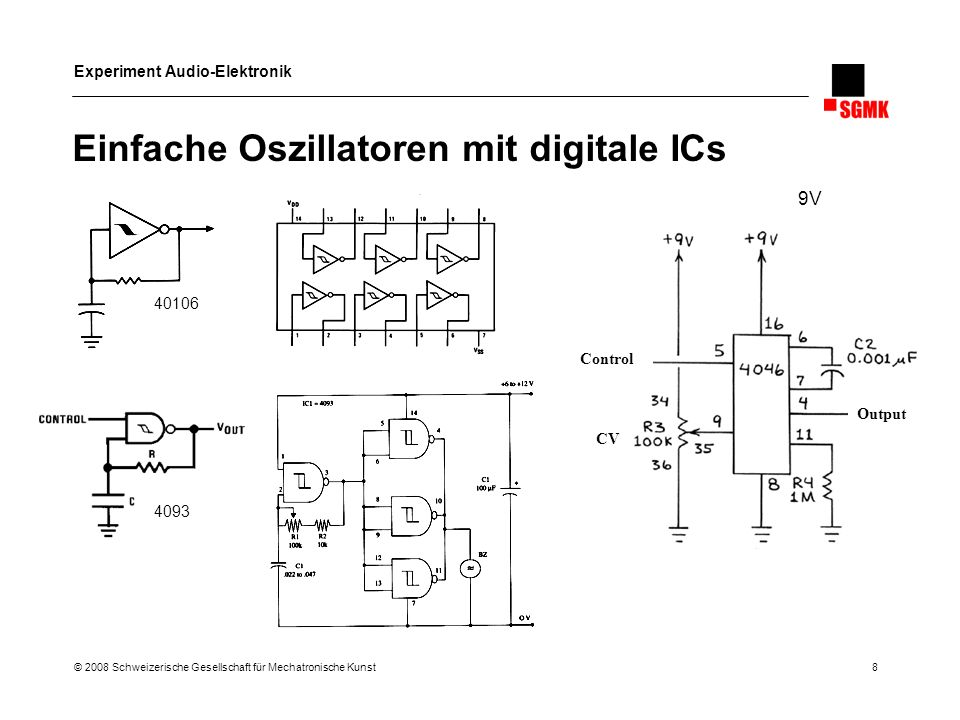 Einfache Oszillatoren mit digitale ICs