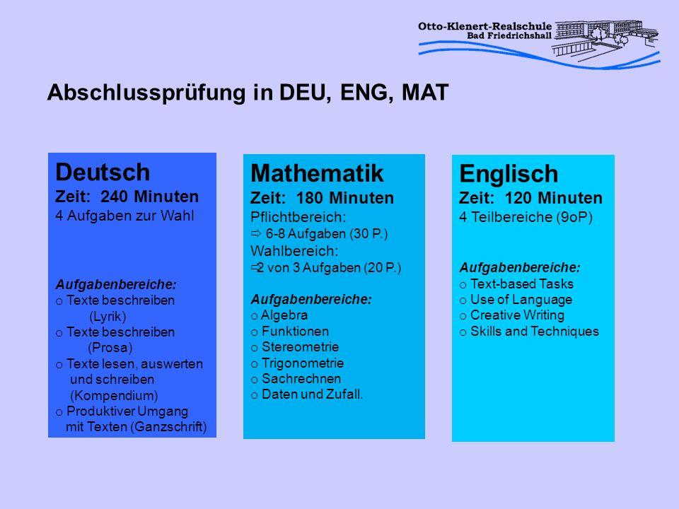 Deutsch Mathematik Englisch Abschlussprüfung in DEU, ENG, MAT