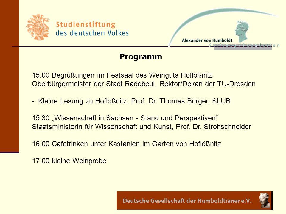 Programm 15.00 Begrüßungen im Festsaal des Weinguts Hoflößnitz