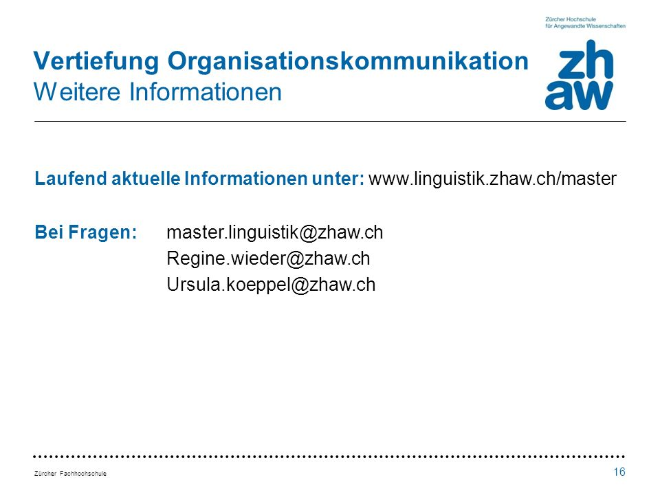 Vertiefung Organisationskommunikation Weitere Informationen