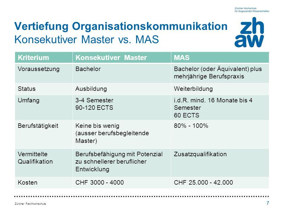 Vertiefung Organisationskommunikation Konsekutiver Master vs. MAS