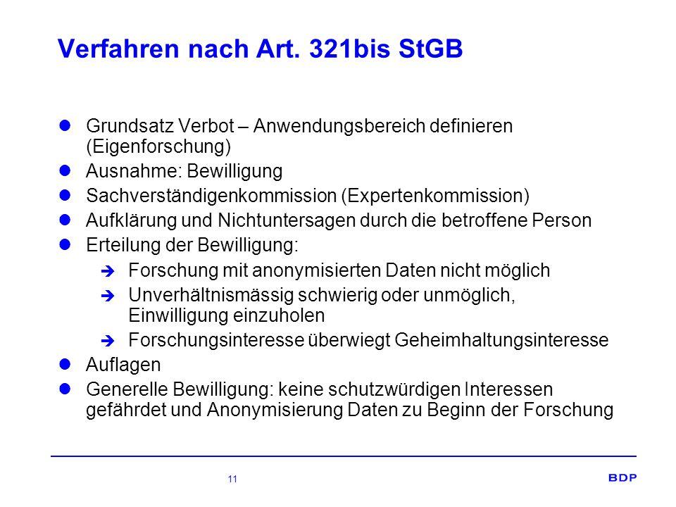 Verfahren nach Art. 321bis StGB