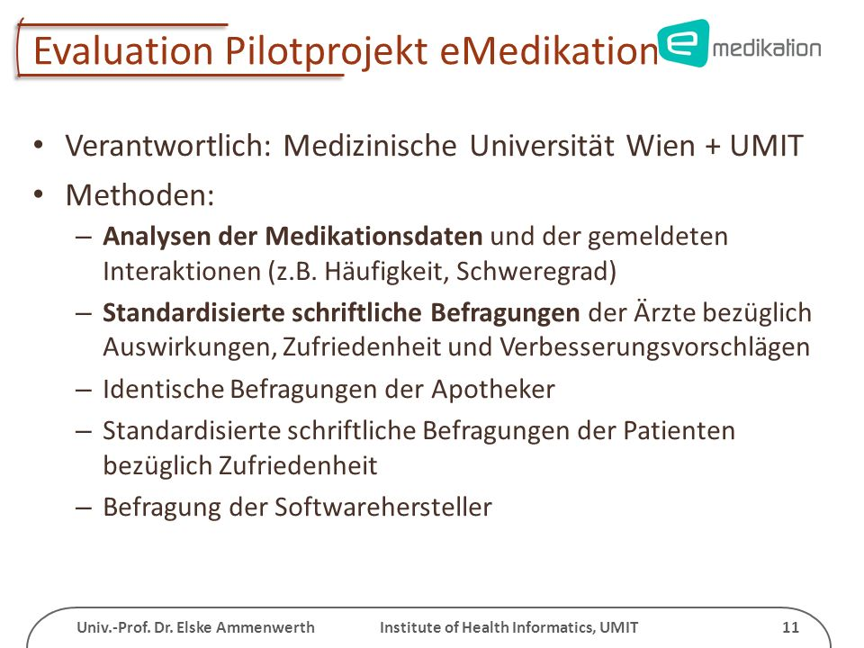 Evaluation Pilotprojekt eMedikation