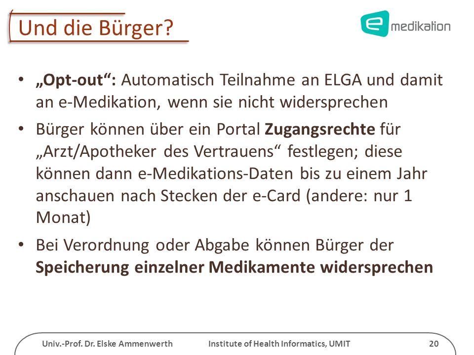 """Und die Bürger """"Opt-out : Automatisch Teilnahme an ELGA und damit an e-Medikation, wenn sie nicht widersprechen."""
