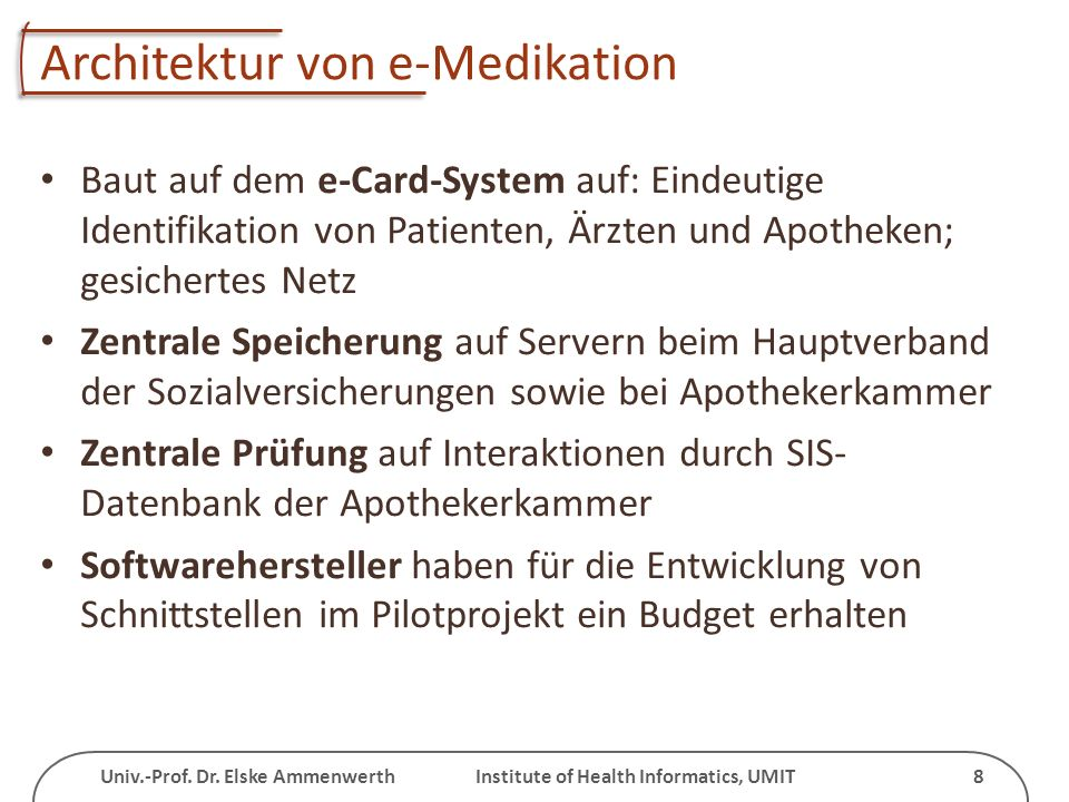 Architektur von e-Medikation