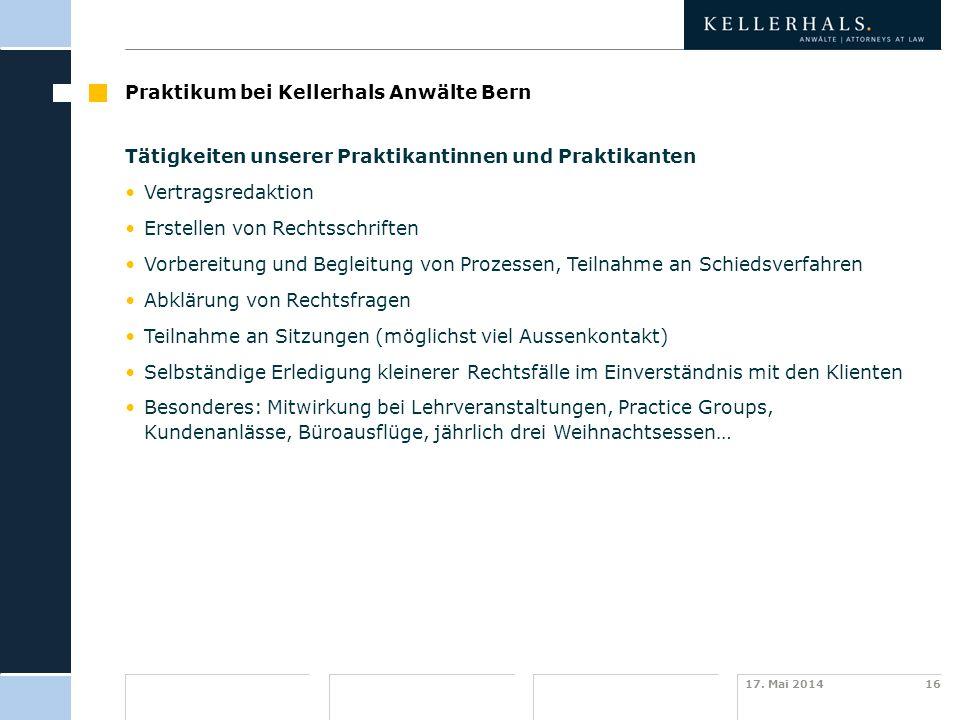Praktikum bei Kellerhals Anwälte Bern