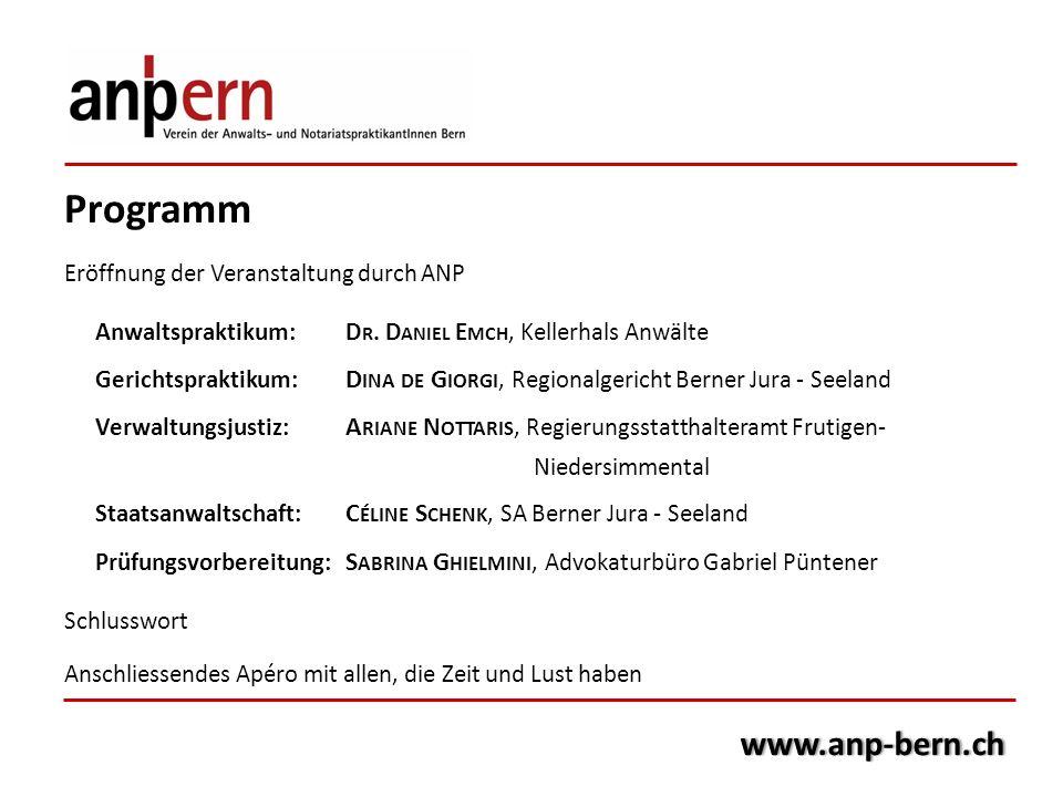 Programm www.anp-bern.ch Eröffnung der Veranstaltung durch ANP