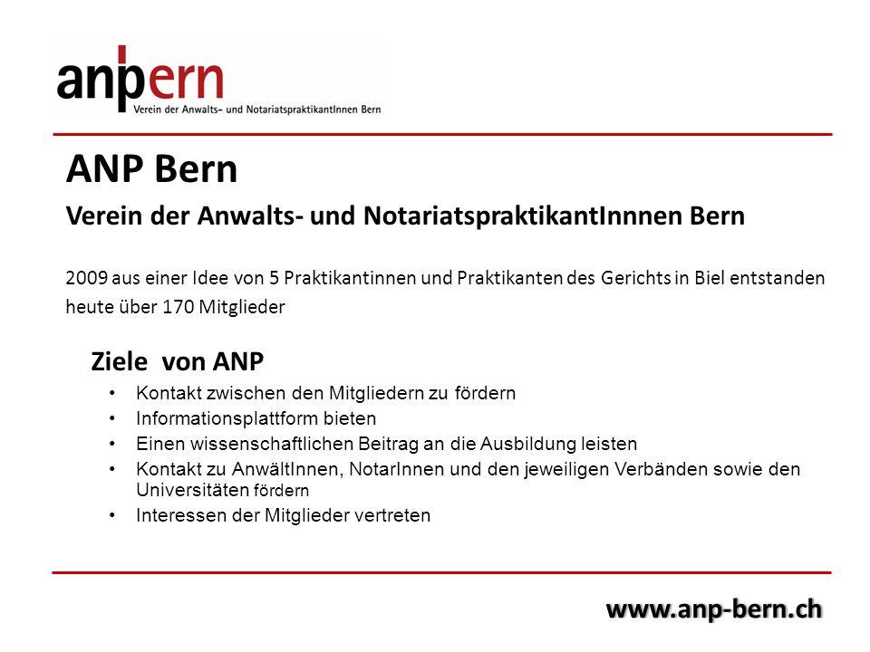 ANP Bern Verein der Anwalts- und NotariatspraktikantInnnen Bern