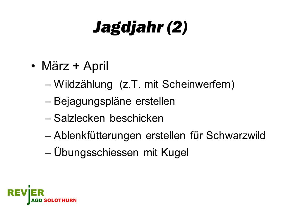 Jagdjahr (2) März + April Wildzählung (z.T. mit Scheinwerfern)