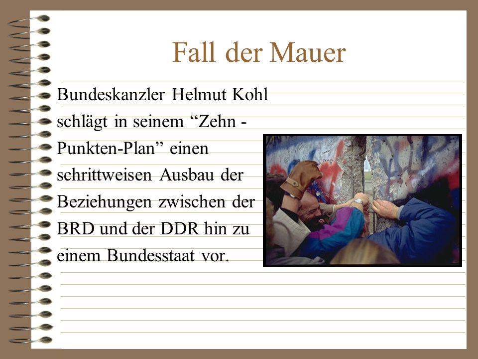Fall der Mauer Bundeskanzler Helmut Kohl schlägt in seinem Zehn -