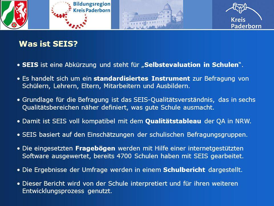 """Was ist SEIS SEIS ist eine Abkürzung und steht für """"Selbstevaluation in Schulen ."""