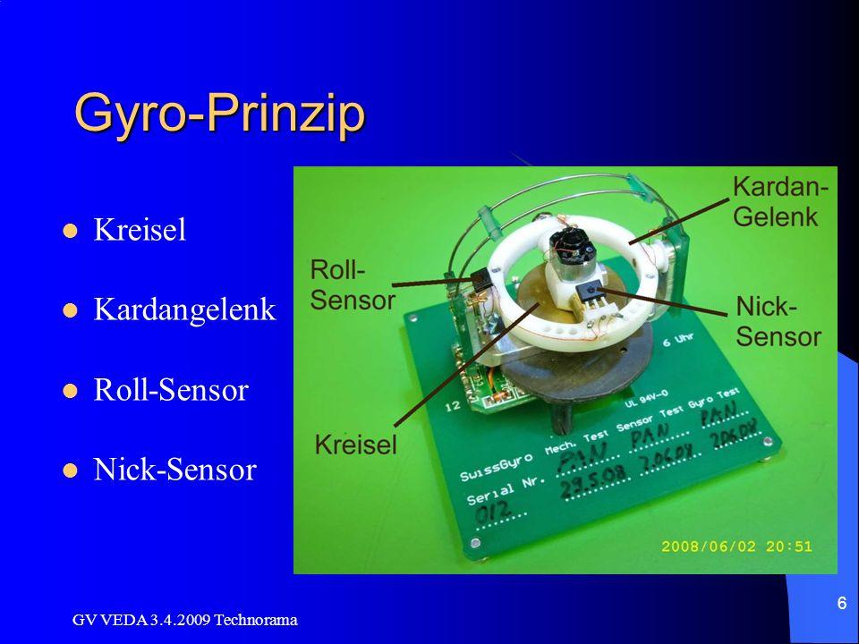 Gyro-Prinzip Kreisel Kardangelenk Roll-Sensor Nick-Sensor
