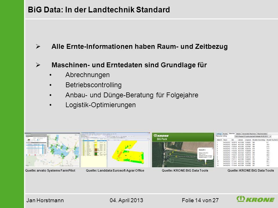 BiG Data: In der Landtechnik Standard